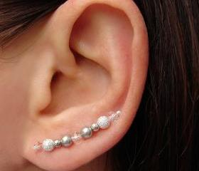 Ear Pins - Swarovski Silver Gray Pearls, Faceted Crystals, Silver Stardust Beads Earrings - Pair