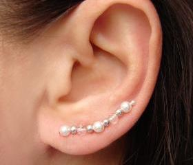 Ear Pins - White Swarovski Pearls, Sparkly Clear Faceted Crystals Earrings - Pair