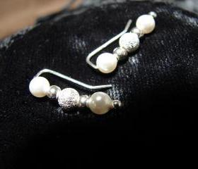 Ear Pins - Sterling Silver Filled Pins and Swarovski White Pearls Earrings with Stardust Beads - Pair