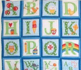 ABC blue green quilted alphabet wall hanging /playmat