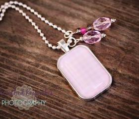 Think Pink Pendant Necklace Pink/Gray