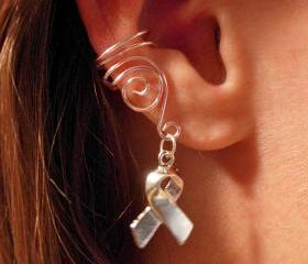 Set of 3 Pale Pink Ear Cuffs, Breast Cancer Awareness Ribbon Charm
