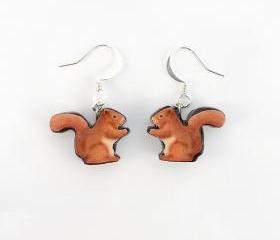 Polymer Clay Red Squirrel Earrings 