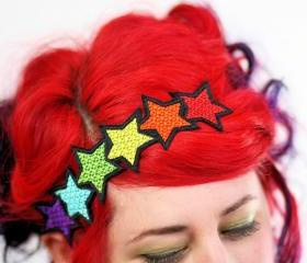 Rainbow Stars Headband, Red, Yellow, Orange, Blue, Purple