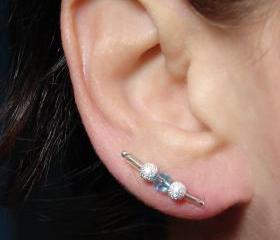 Earring Pins - Silver Stardust and Blue Bead Ear Pins - Pair