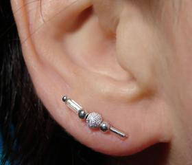 Ear Pins - Silver Beads and Glass Ear pins - Pair