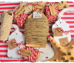 Gift Wrap Kit - Natural Hemp cord, Red Twine and White tags.