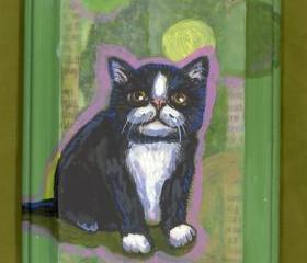 Black and white cat panel painting OOAK