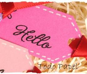 Hello mini tags . 10 set . pink . lilac . lime . raspberry . red . stitch effect . small . git embellishment . rainbow . greeting . hola