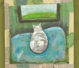 White cat loaf looking out window original painting on wood