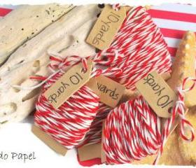Red bakers twine . 30 yards (10 yard rolls) . handmade tag . tiny . small . cotton . eco friendly . gift wrapping . white