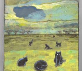 Cats in the desert painting acrylics OOAK original