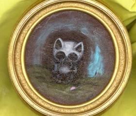 Grandpa cat OOAK painting acrylics