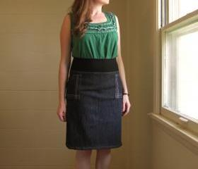 Black Denim Aline Skirt Architect