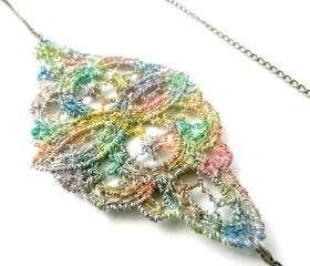 Lace Necklace Hand Dyed Multicolored Rainbow with Antiqued Bronze Chain