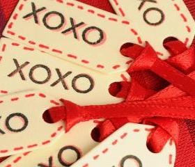 6 Tiny Paper Tags. Hugs and Kisses, XOXO / red satin ribbon. Gift Tag / embellishment / mini tag / cute / gift wrap / Valentine's