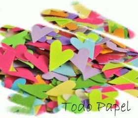 200 pc. Primitive heart confetti. Hand punched embellishment, party decor. Spring / love / romance