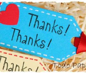 10 thank you mini tags . thanks . cobalt . raspberry . lilac . champagne . blue . red heart . stitching surround . satin ribbon . small