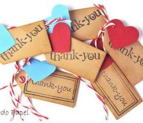 10 Mini Thank you Tags with hearts.