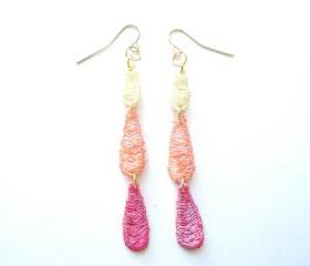 Lace Earrings Hand Dyed - Red / Pink, Orange and Yellow - Customizable Colors - Lace Fashion
