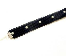 Fabric Bracelet in Navy Polka Dot - Nautical Summer