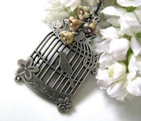 Nightingale Necklace - Antique Silver Birdcage Charm with Opaque Luster Antique Green Czech Glass Flowers