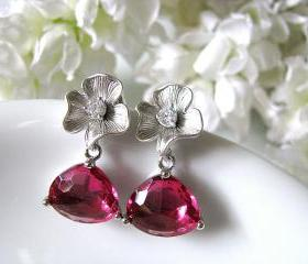 Matt Silver Plated Cubic Zirconia Flower With Ruby Red Triangular Cut Glass Ear Posts