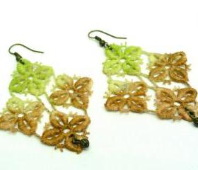 Lace Earrings - Hand Dyed - Vintage Inspired - Green Brown Diamond Shapes - Customizable Colors