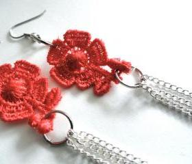 Lace Earrings with Red Flowers and Silver Plated Chain - Floral Jewelry