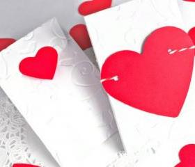 Coin envelopes. 10 Set - Red heart - Wedding favor, thank you note, packaging, friendship, love