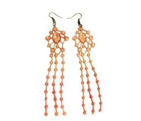 Lace Earrings Hand Dyed -Red and Brown - Customizable Colors