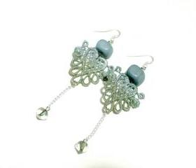 Heart Lace Earrings Hand Dyed - Pearl Olive Green and Baby Blue - Customizable Colors - Lace Fashion