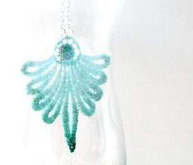Teal and Sea Foam Green Lace Necklace with Silver Plated Chain for Spring Summer