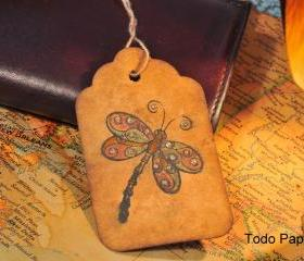 10 Dragonfly Vintage inspired tags. Coffee stained.