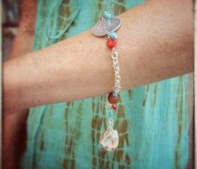 Playa Vida bracelet silver chain shells coral turquoise amber horn charm dangle custom