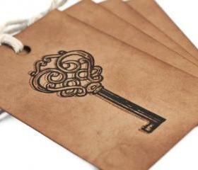 Skeleton key. Gift Tag / gift wrap embellishment / heart / label / hang tag / vintage / rustic / brown / old / sepia /