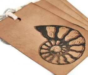 Fossil Kraftgift tags. Ammonite. Gift label decoration tags . vintage rustic brown . Archeologist gifts