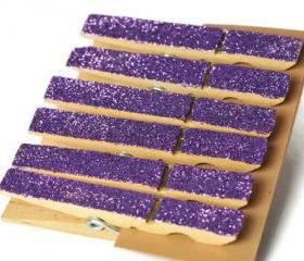 6 clothes pins . purple . charoite. plum . amethyst . housewares . home decor . favors . wedding . organization . wooden peg . glitter