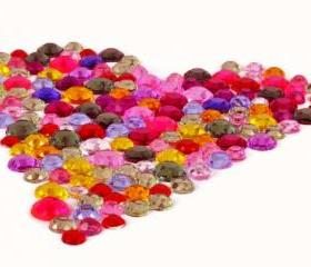 300 Rainbow Acrylic Flatback Rhinestones. 3 sizes - for scrapbooking, crafts, jewelry.