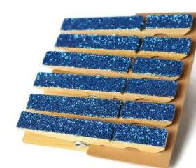 Glittered clothes pins . lapis lazuli . cobalt blue . 6 . clothes peg . organization . favors . embellishments . wedding decor . glitzy