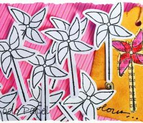 Pinwheel / Windmill Scrapbook embellishment. Do it yourself / DIY / Arts and Crafts / kids / card making / Pink / Pack of 12
