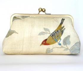 Kisslock Frame Clutch Silk Lined Bird