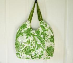 Pleated Handbag Purse Tote Green and White Botanical
