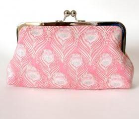 Kisslock Frame Clutch Silk Lined Pink Peacock