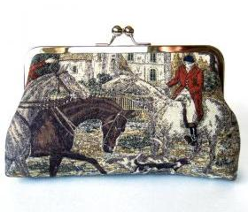Kisslock Frame Clutch Silk Lined Red Fox Hunt Pink Red Coat