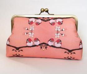 Kisslock Frame Clutch Silk Lined Pink Birds on a Branch