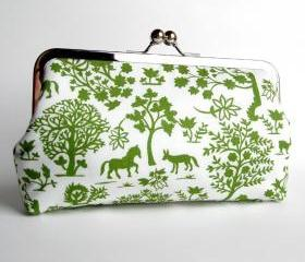 Kisslock Clutch Silk Lined Green and White Silhouette Forest Frame
