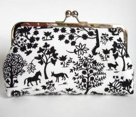 Kisslock Clutch Silk Lined Black and White Forest Silhouette Frame