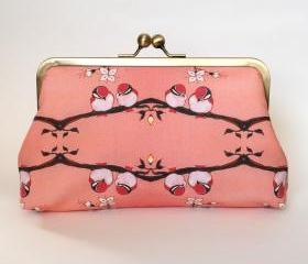 Favorite LikeKisslock Frame Clutch Silk Lined Pink Birds on a Branch