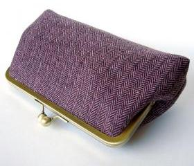 Kisslock Frame Clutch Silk Lined Pink Brown Tweed Wool Heringbone